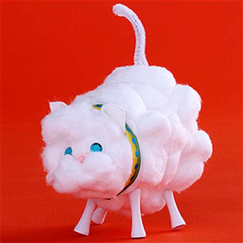 cotton ball cat fun family crafts