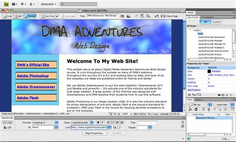 layout html dreamweaver teaching kids dreamweaver