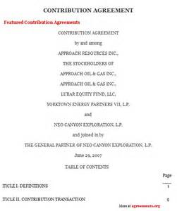 Contributor Agreement Template contribution agreement sample contribution agreement