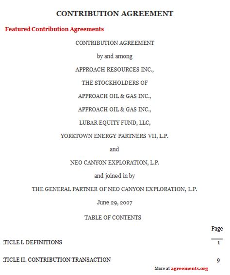 Capital Contribution Agreement Template Contribution Agreement Sle Contribution Agreement Template