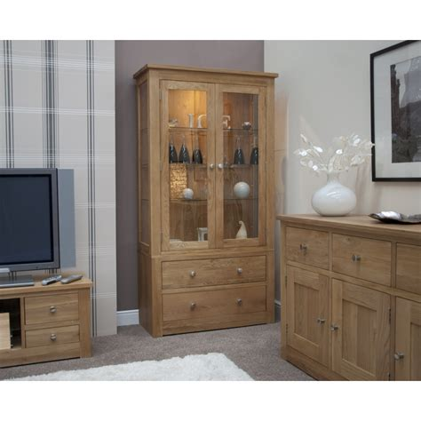 Display Cabinets Dining Room Furniture Ohio Display Cabinet Glazed With Light Solid Oak Dining Room Furniture Ebay