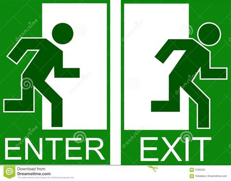 entry and exit enter exit stock illustration image of indoor evacuation