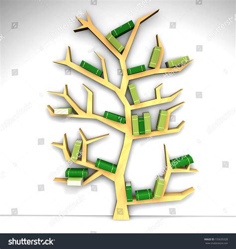 tree of knowledge bookshelf on white background stock