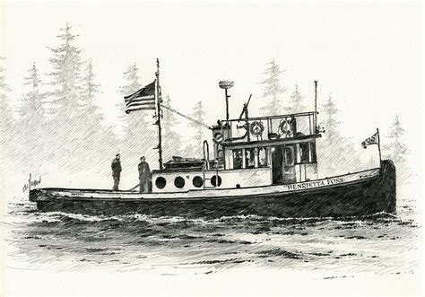 tugboat drawing tugboat henrietta foss drawing by james williamson