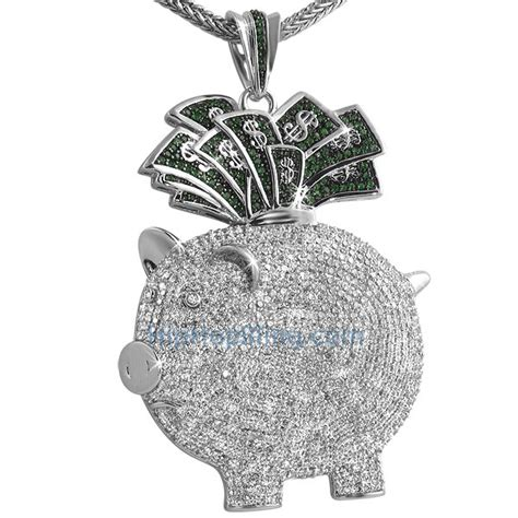 piggy bank money cz custom hip hop pendant custom micro