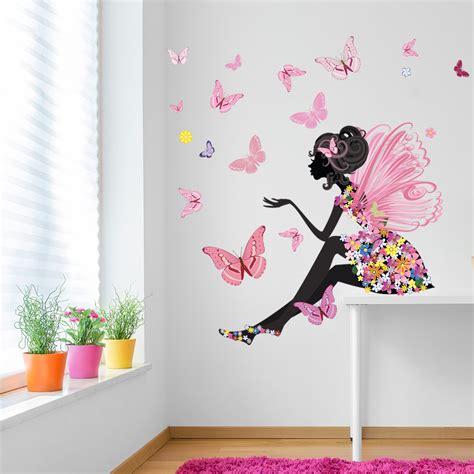flower fairy butterfly wall decal sticker scene ws  ebay