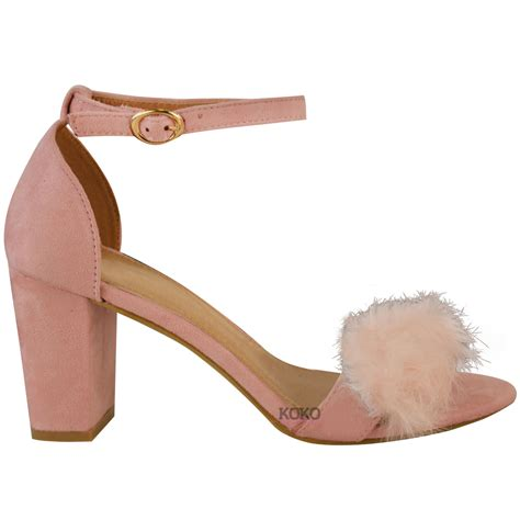 womens faux fur fluffy low wedge heel sandals