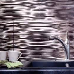 fasade backsplash waves in brushed nickel tanning room
