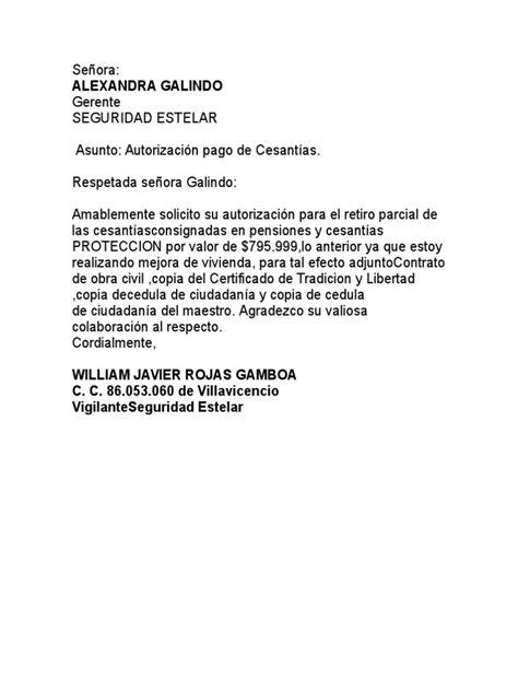 carta de autorizacion de retiro de cesantias carta retiro cesantias