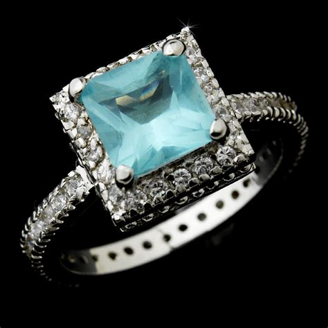 aqua princess cut cz ring bridal hair accessories