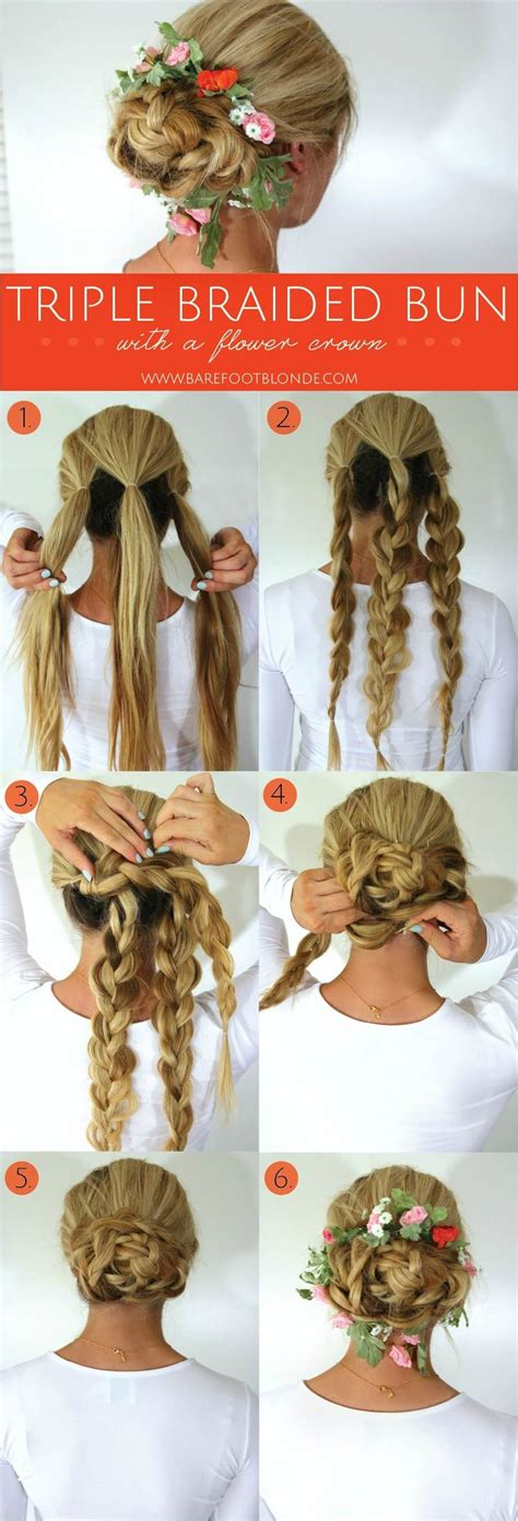 the triple braided bun with flower crown hairstyle design page 4 of triple braided bun with flower crown barefoot blonde