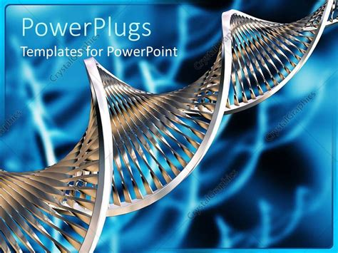 Powerpoint Template Silvery Dna Strand On Abstract Blue Biology Powerpoint Theme