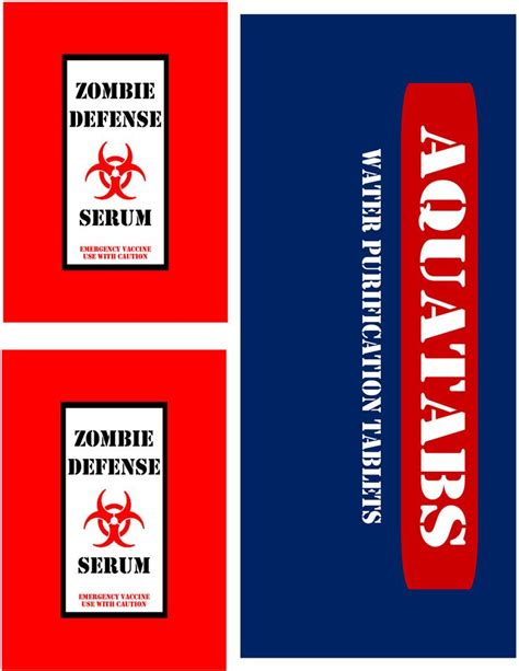 printable zombie labels zombie survival kit printable labels www imgkid com