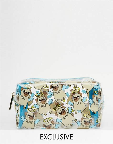 pug make up bag skinnydip skinnydip asos exclusive pug print make up bag