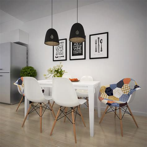 Patchwork Dining Chairs - scandinavian apartment with adorable and classic colors