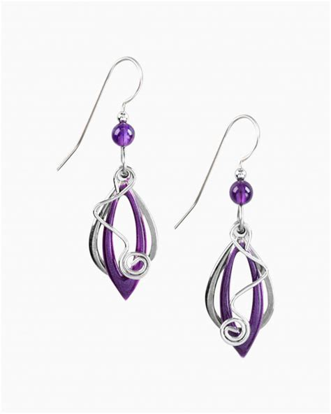 Silver Forest Purple Marquee and Coil Earrings   The Paper