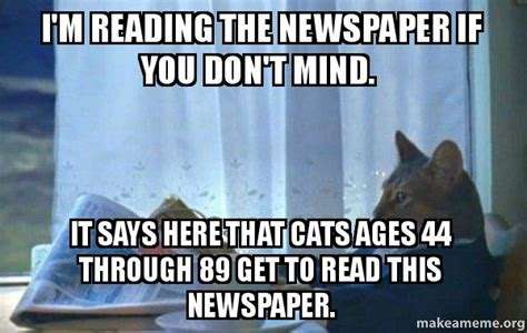 Newspaper Cat Meme - i m reading the newspaper if you don t mind it says here