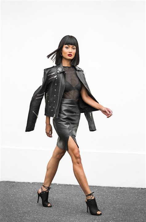 leather jacket with leather skirt skirt ify