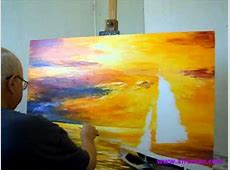 artist Leonid Afremov painting a new painting of seascape ... Famous Acrylic Painting