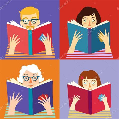 inicio libros de dibujos animados vector de stock conjunto de personas dibujos animados leyendo libros