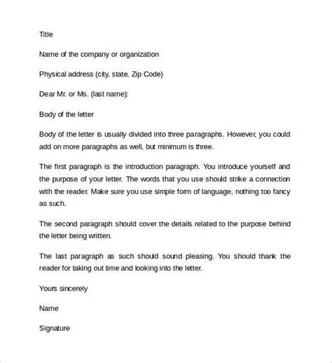 professional letter format 11 professional letter format sle templates
