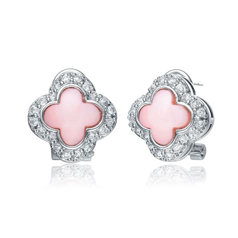 Clover Silver Pendant With Clear Cubic Zirconia And Neckla P 180 flawless cubic sterling silver pink of pearl and cubic zirconia clover earrings relaveno