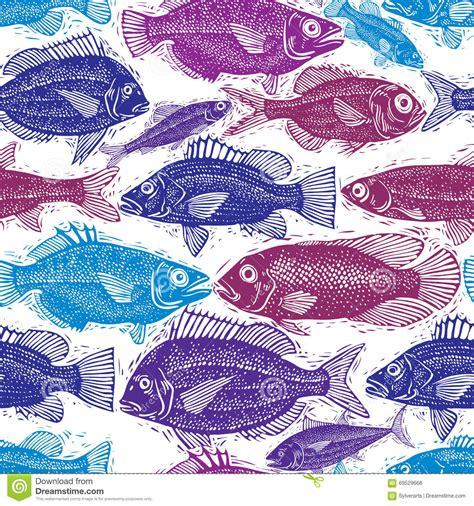 seamless pattern hand drawn seafood hand drawn seafood vector seamless pattern on blue vector