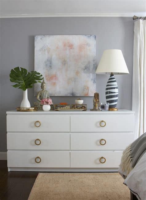 ikea malm grey dresser brass ring pulls transitional bedroom benjamin moore
