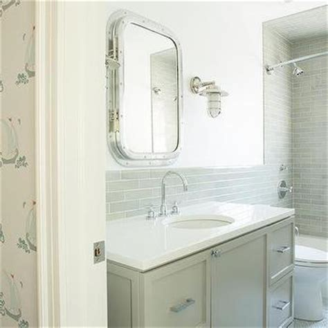 nautical medicine cabinet boy bathroom with best in show wallpaper transitional