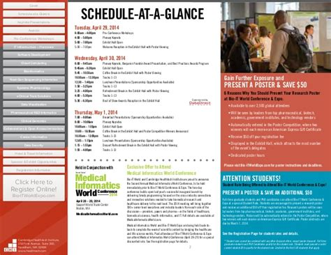 Bio It World Conference Expo 2014 Full Agenda Schedule At A Glance Template