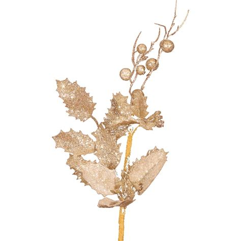 Tree Branch Decorations In The Home champagne gold holly branch floral picks pic and spray