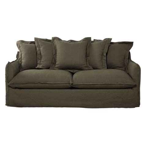 olive green couches 3 4 seater washed linen sofa in olive green barcelone