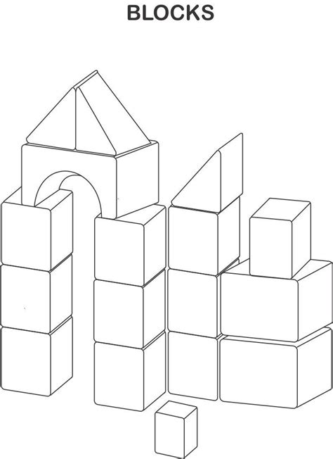 Blocks Coloring Printable Page For Kids Block Coloring Pages