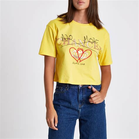 Cropped Print T Shirt yellow no more chances cropped t shirt print t shirts