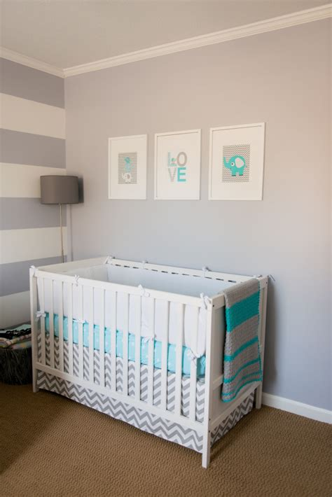 Gray Crib Nursery by Emerson S Not So Girly Aqua And Gray Nursery Project Nursery