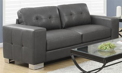 Charcoal Gray Leather Sofa 8223gy Charcoal Grey Bonded Leather Sofa 8223gy Monarch