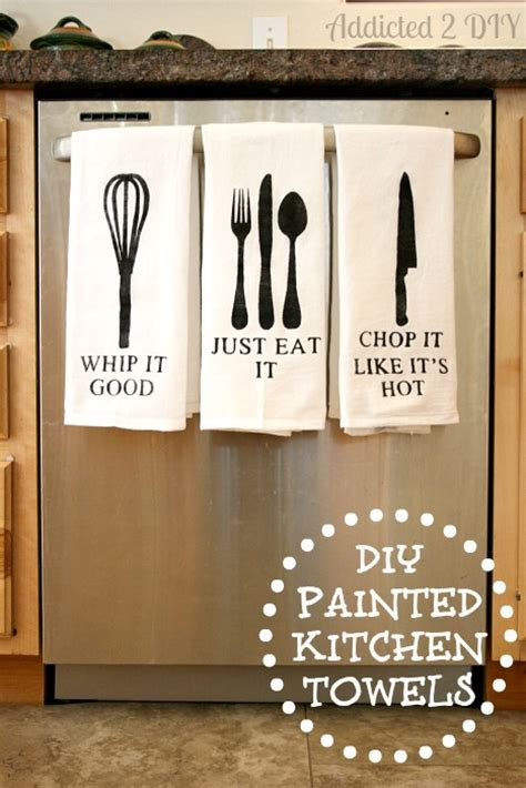 Free Cricut Craft Room Files - diy painted kitchen towels with free svg files addicted 2 diy