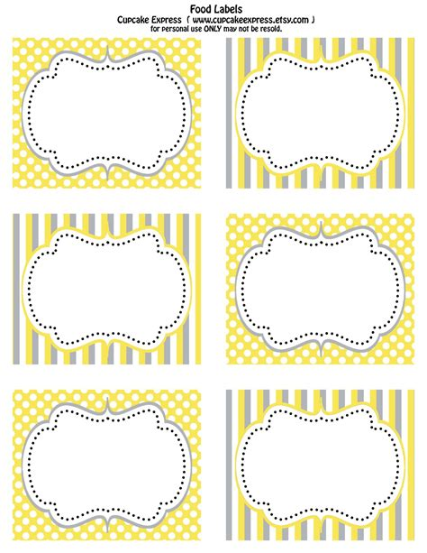 printable label free printable yellow and grey food labels cupcake