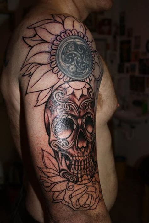 day of the dead tattoo sleeve 20 scary day of the dead tattoos creativefan