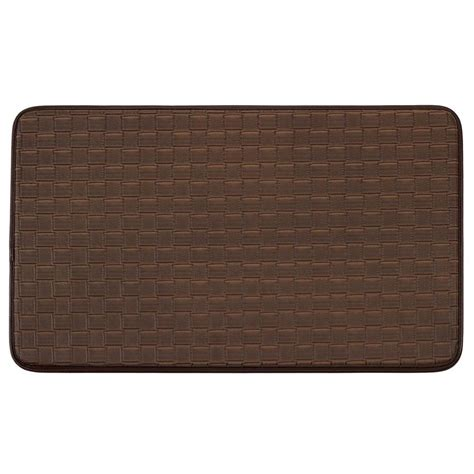 comfort chef kitchen mats chef gear basket weave faux leather mocha 18 in x 30 in