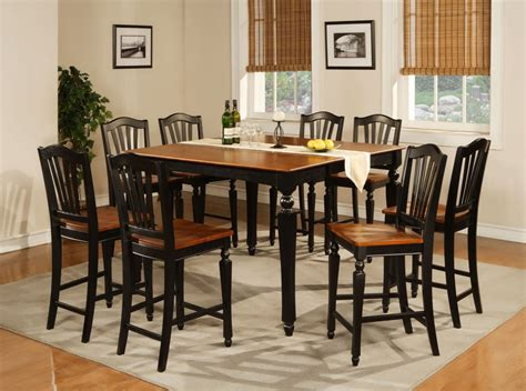 Simple Rustic Square Dining Room Table Seats 8 Painted With Black And Brown Color On White Rugs