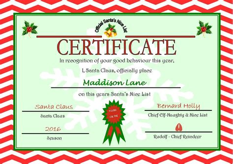 printable gift certificate from santa santa nice list certificate www imgkid com the image