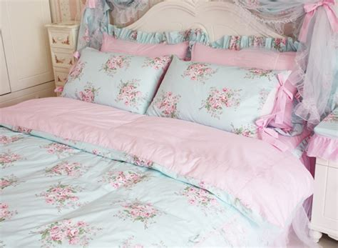 princess shabby chic floral blue duvet comforter cover set