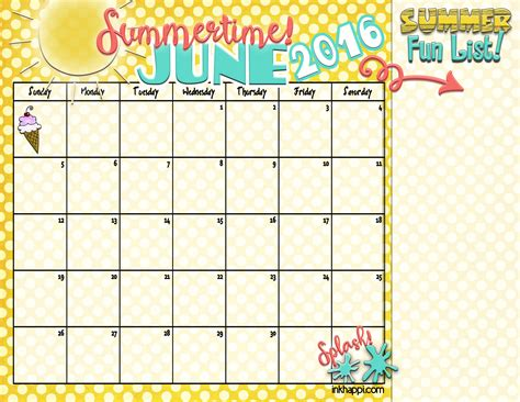 summer calendar template summer planning calendars and ideas inkhappi