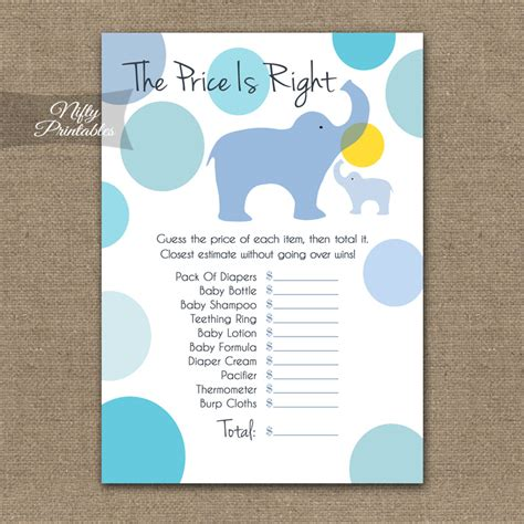 Price Is Right Baby Shower Free Printable by Printable Price Is Right Baby Shower Blue Elephants