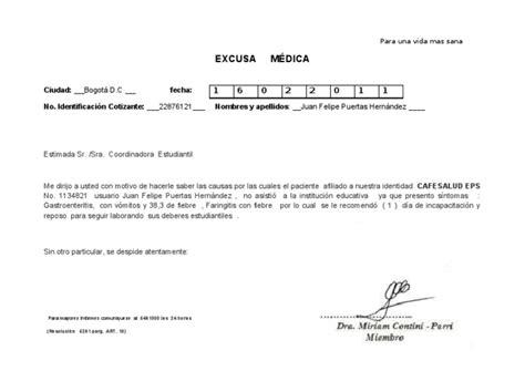 incapacidades medicas cafesalud vlex colombia excusa m 201 dica