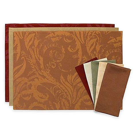 placemats bed bath and beyond autumn scroll placemats and napkins bed bath beyond