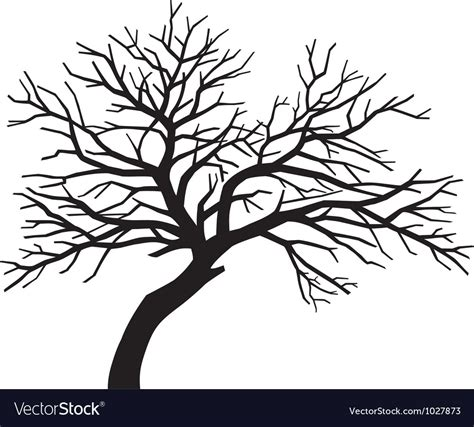 scary bare black tree silhouette royalty free vector image