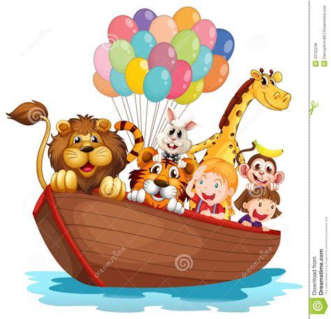 animal cartoon on boat a boat full of animals stock vector illustration of boat