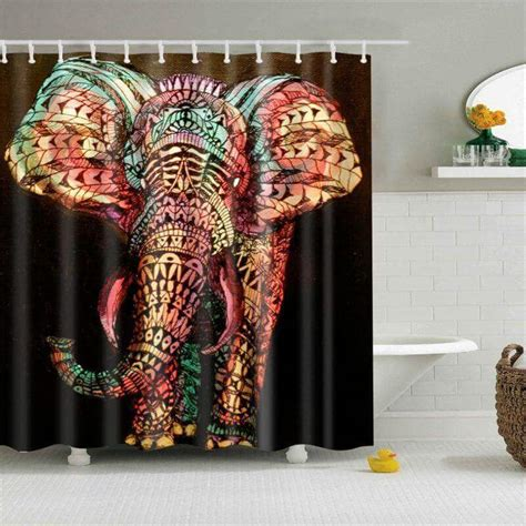 colorful elephant shower curtain elephant bathroom decor